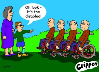 crippen cartoon showing a group of wheelchair-users being addressed by a boy