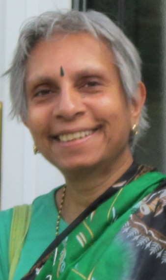 photo of two the author debjani chatterjee pictured outside 11 Donnington Rd