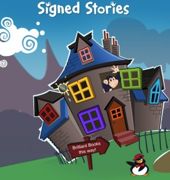 front page signed stories website image of a story book house and sign saying 'brilliant stories this way'