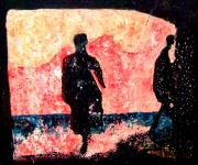 painting of two dark, abstract figures