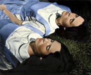 Painting by Natalie Papamichael of twin sisters lying down on a grass lawn