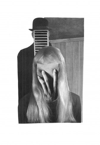 black and white collage photo of a man wearing a bowler hat, his face covered by a tray, standing behind a woman with long hair who holds her hand across a featureless face