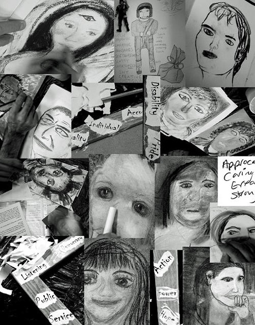 a composite image of black and white image of portrait drawings