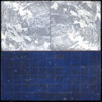A square print is divided horizontally into two halves, like a very abstract landscape.  Below the horizon is a blue grid with light speckles.  Above, white textures swirl like an icy storm