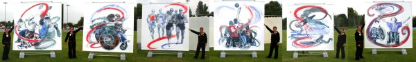 A series of photos of Rachel Gadsden alongside her six large scale representations of disabled paralympians in action.