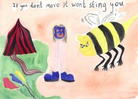 Watercolour of a figure with a blue mask standing in big blue shoes between a large, menacing bee and a red and black striped tent.