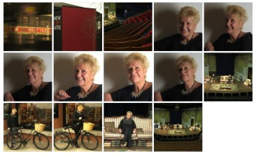 Contact sheet of 15 stills from the Heads Up film, selection of heads shots of Sarah Holmes and location images.