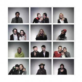 twelve passport-style photos of individuals and couples smiling