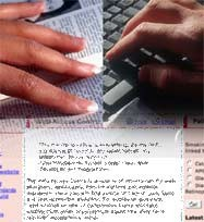 male and female hands over computer keys and a book, fading into an accessibility web page
