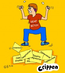 Crippen's cartoon about a poem by Deaf Bitch