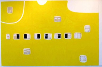 A rectangular mostly yellow composition with a series of books