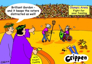Crippen's cartoon portraying the government getting disabled people to fight each other for their funding