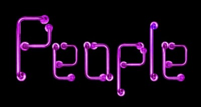 colour image of shocking pink grab rails spelling out the word 'People' on a black background