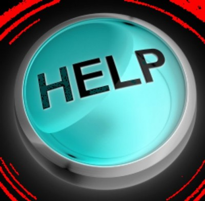 picture of the word 'help' in capitals within a turqoise circular button