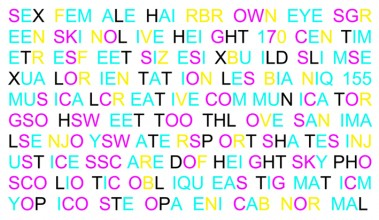 a series of words laid out graphically in turqoise, pink and yellow
