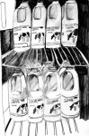 drawing of rows of bottles of milk in a fridge, taken from a wheelchair user's perspective