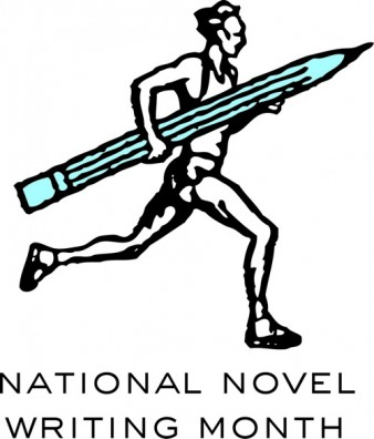 drawing of a man running with a large pencil in his hands. underneath are the words national novel writing month