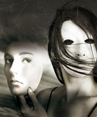 a black and white surrealist-style photograph of a woman wearing a mask and holding a face