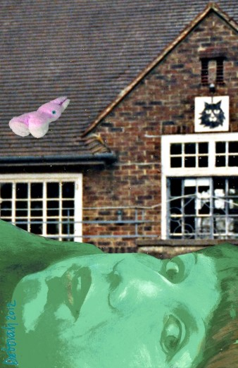 self-portrait of the artist with a green face, pictured below an institutional building with a pink rabbit on the roof