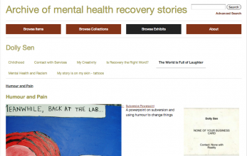 Screenshot of Mental Health Recovery Archive