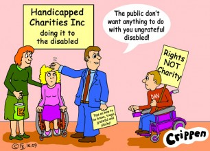Crippen cartoon about rights not charity shows four people, two of them in wheelchairs, talking. The two not in wheelchairs are Charity representatives